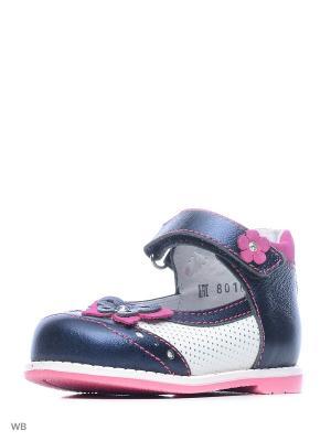 Туфли ELEGAMI. Цвет: темно-синий, белый, розовый