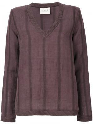 Рубашка с V-образным вырезом Cecilie Copenhagen. Цвет: розовый и фиолетовый