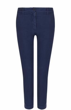 Льняные укороченные брюки прямого кроя 120% Lino. Цвет: темно-синий