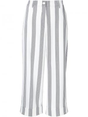 Укороченные брюки в полоску Shades Of Grey By Micah Cohen. Цвет: белый