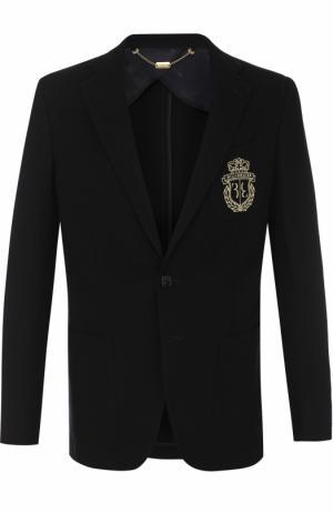 Однобортный шерстяной пиджак Billionaire. Цвет: темно-синий