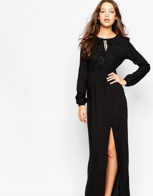 Vero Moda Tall Платье макси с длинными рукавами. Цвет: черный