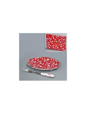 Тарелочка под лимон КРАСНОЕ И БЕЛОЕ 15 см. BRISWILD. Цвет: красный, белый