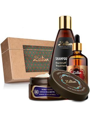 Набор шампунь, маска и легкосмываемое масло Натуральный комплекс против перхоти зуда Зейтун. Цвет: светло-коричневый, кремовый, светло-желтый