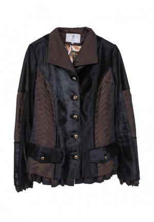 Куртка кожаная Interfino. Цвет: коричневый
