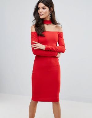 Jessica Wright Платье миди с длинными рукавами и чокером. Цвет: красный