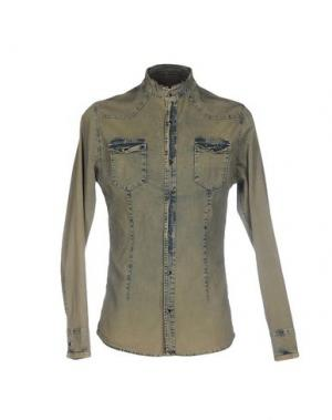 Джинсовая рубашка GREY DANIELE ALESSANDRINI. Цвет: зеленый-милитари