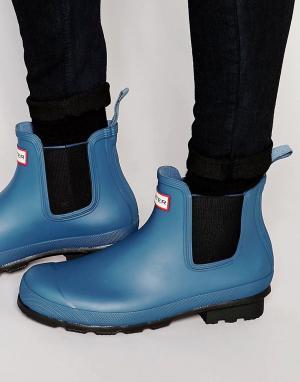 Hunter Резиновые сапоги Original Chelsea. Цвет: синий