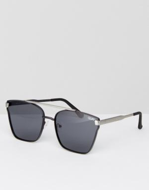 Quay Australia Черные квадратные солнцезащитные очки с планкой сверху. Цвет: черный