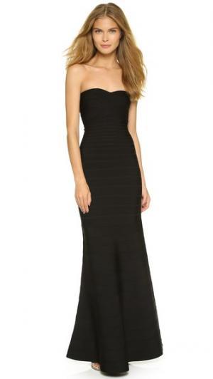 Вечернее платье без бретелек Herve Leger. Цвет: голубой