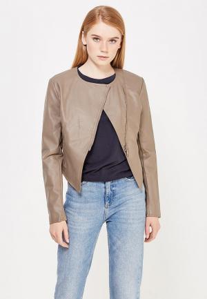 Куртка кожаная Motivi. Цвет: коричневый
