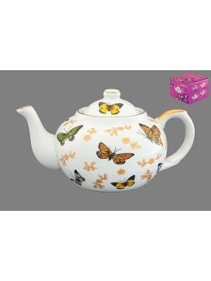 Чайник с металлическим ситом Бабочки Elan Gallery. Цвет: белый, желтый, зеленый, золотистый, коричневый