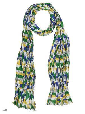 Шарф United Colors of Benetton. Цвет: зеленый, белый, желтый