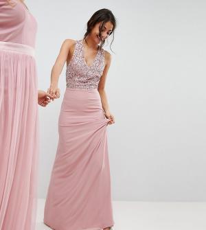 Maya Tall Платье макси с лифом пайетками и без рукавов, вырезами на спине ба. Цвет: розовый