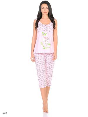 Домашний костюм ( майка, бриджи) HomeLike. Цвет: розовый