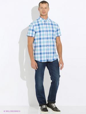 Рубашка INCITY. Цвет: белый, синий, бирюзовый
