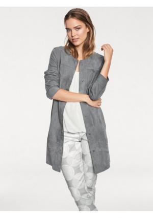Кожаное пальто Rick Cardona. Цвет: серый