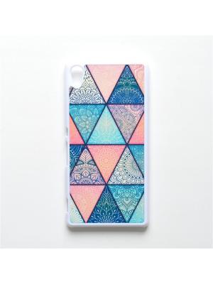 Чехол для Sony Xperia Z3 Plus Геометрический принт Boom Case. Цвет: бирюзовый, розовый