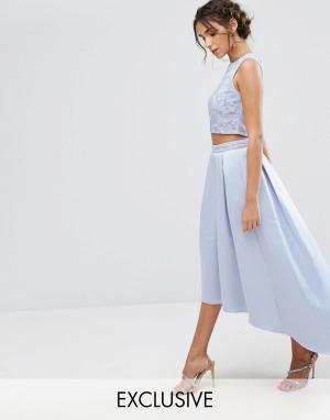 Maya Асимметричная атласная юбка с вышивкой. Цвет: синий