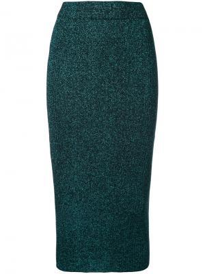 Трикотажная юбка с блестящей отделкой G.V.G.V.. Цвет: зелёный