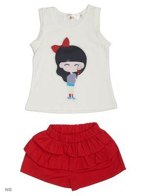 Майка и шорты Happy Bear. Цвет: красный, белый
