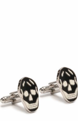 Запонки в виде черепа Alexander McQueen. Цвет: черно-белый