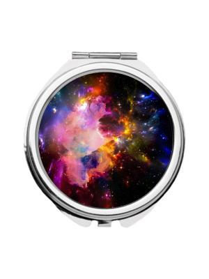 Зеркальце карманное Космос Chocopony. Цвет: синий, желтый, розовый