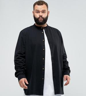 ASOS Черная удлиненная джинсовая рубашка классического кроя PLUS. Цвет: черный