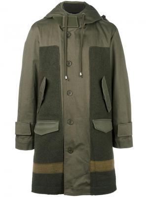 Панельное пальто с капюшоном Cy Choi. Цвет: зелёный
