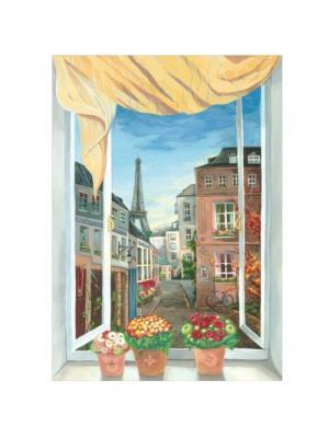 Виниловая наклейка Окно в Париж DECORETTO. Цвет: голубой, красный, белый, зеленый, серый, коричневый
