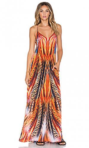 Макси платье maxi pocket dress Lotta Stensson. Цвет: оранжевый
