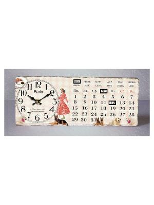 Часы настольные Девушка с собачками Magic Home. Цвет: белый