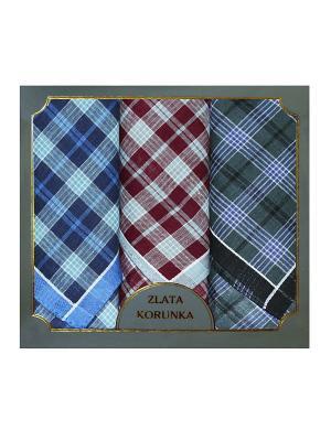 Платок носовой  мужской, 3 шт. ZLATA KORUNKA. Цвет: бордовый, зеленый, синий