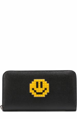 Кожаное портмоне с декором на молнии Les petits joueurs. Цвет: черный