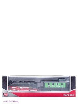 Набор Технопарк локомотив и вагон. Цвет: красный, черный, зеленый