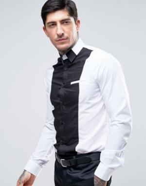 Rogues of London Рубашка скинни со вставками. Цвет: белый