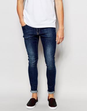 Brooklyn Supply Co. Синие супероблегающие джинсы с состаренным эффектом Co. Цвет: синий