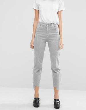 ASOS Рваные прямые джинсы. Цвет: розовый