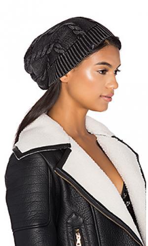 Лыжная шапочка из фигурной вязки с закаткой Plush. Цвет: уголь
