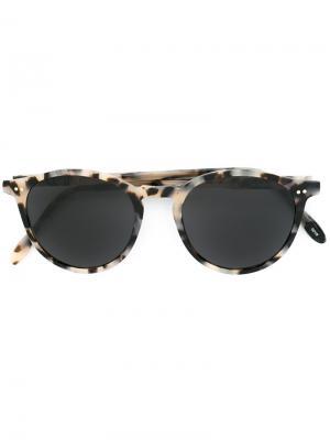Солнцезащитные очки с круглой оправой Pantos Paris. Цвет: телесный
