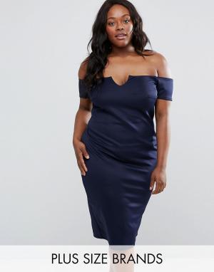 Club L Платье размера плюс с вырезом лодочкой Office. Цвет: темно-синий