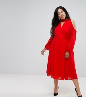Truly You Платье миди с длинными рукавами и вырезом на груди плечах. Цвет: красный