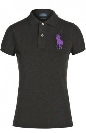 Поло с вышитым логотипом бренда Polo Ralph Lauren. Цвет: черный