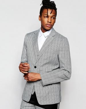 Rogues of London Зауженный пиджак в клетку Prince Wales. Цвет: серый