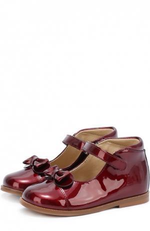 Лаковые туфли с бантом Clarys. Цвет: бордовый