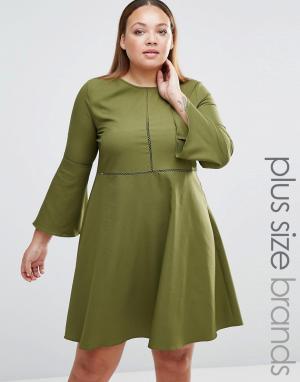 Praslin Платье с рукавом-колокол Plus. Цвет: зеленый