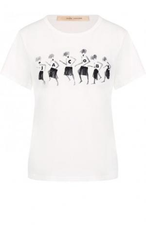 Хлопковая футболка с круглым вырезом и принтом Marc Jacobs. Цвет: белый