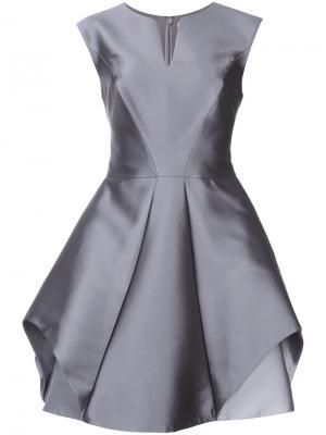 Расклешенное платье  с отделкой металлик Halston Heritage. Цвет: серый