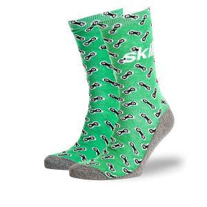 Носки средние  Цепи Зеленые Skills. Цвет: серый,зеленый