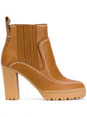 Ботинки-челси на высоком каблуке See By Chloé. Цвет: коричневый